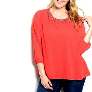 Women's Top Embellished-Beaded-Neck Plus Size